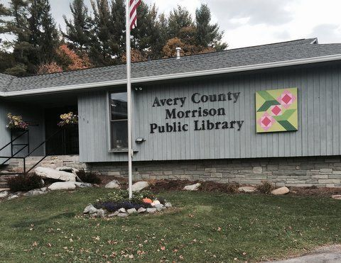 Exterior view of Avery Morrison Public Library at 150 Library Place, Newland, NC 28657