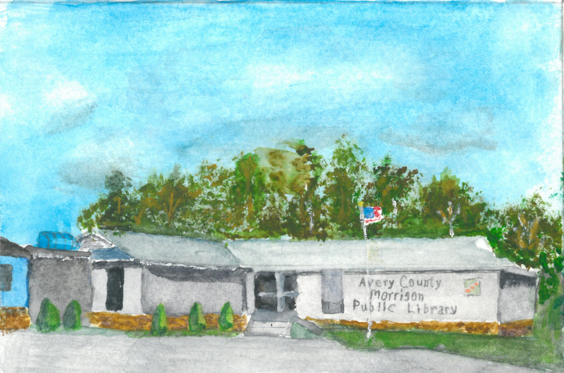Watercolor of Avery County Morrison Public Library by Charles Gillespie