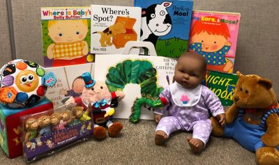 Baby dolls and books to celebrate Baby Bookworms story hour