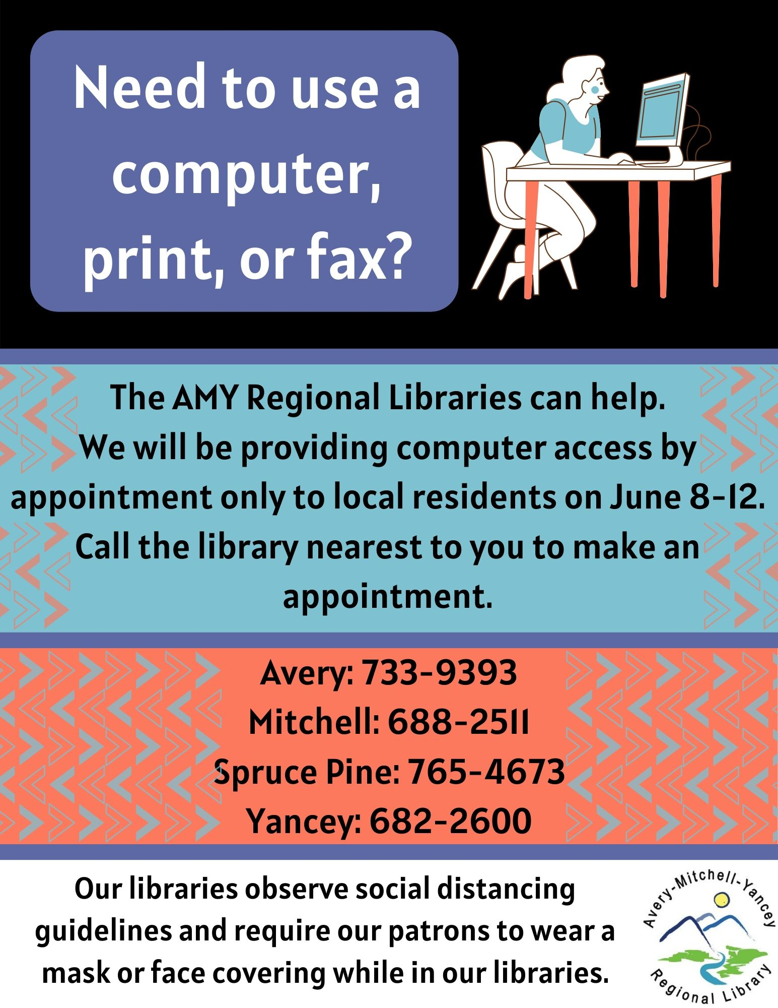Make an appointment to use a computer June 8-12