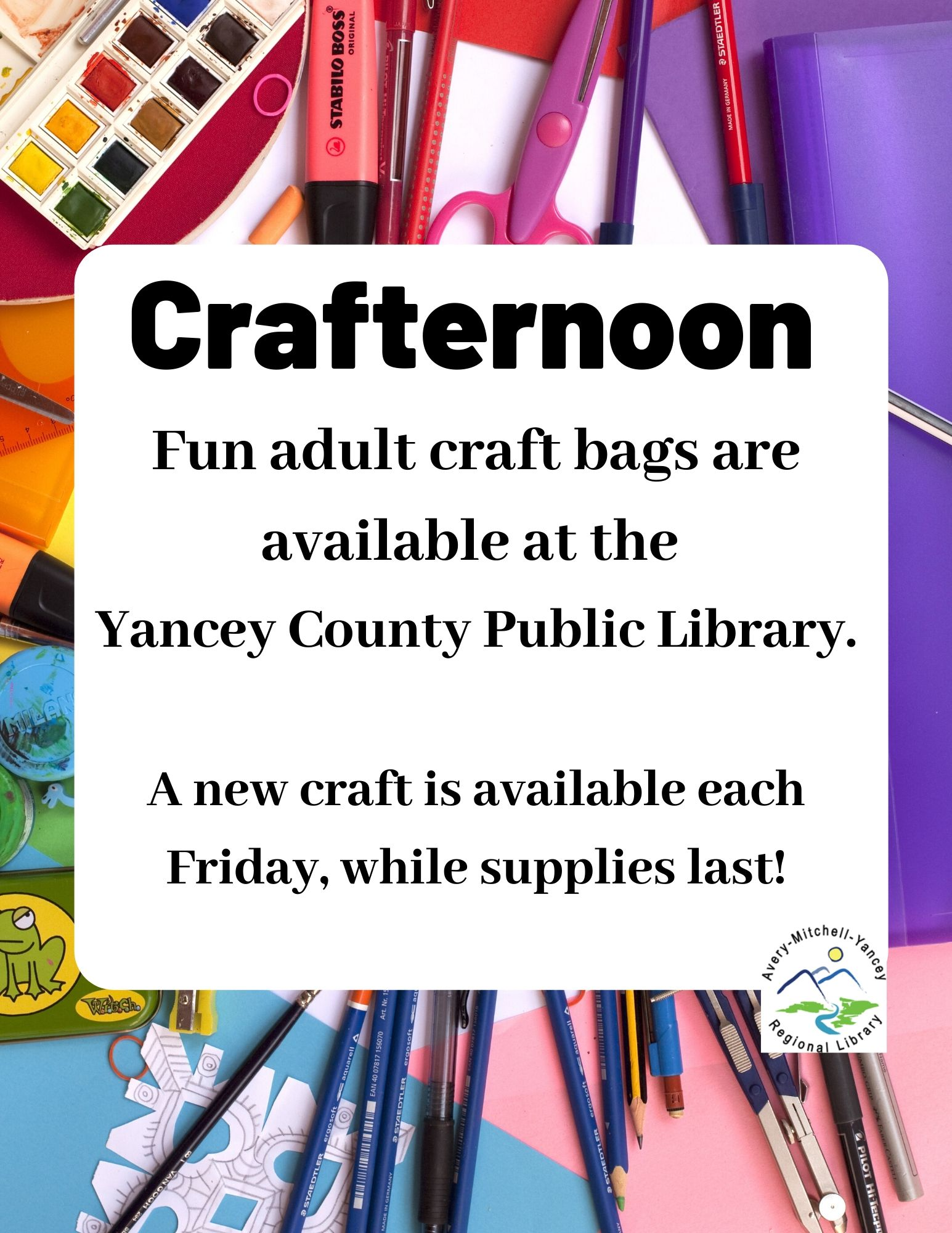 Yancey Library has Adult Crafternoon bags ready for pick-up on Fridays!