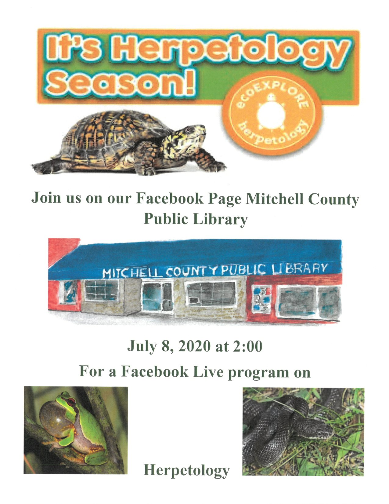 A poster with images of a turtle, a frog, and a snake; the poster describes the Herpetology Season! event held on Mitchell County Library's Facebook page on July 8 at 2:00pm