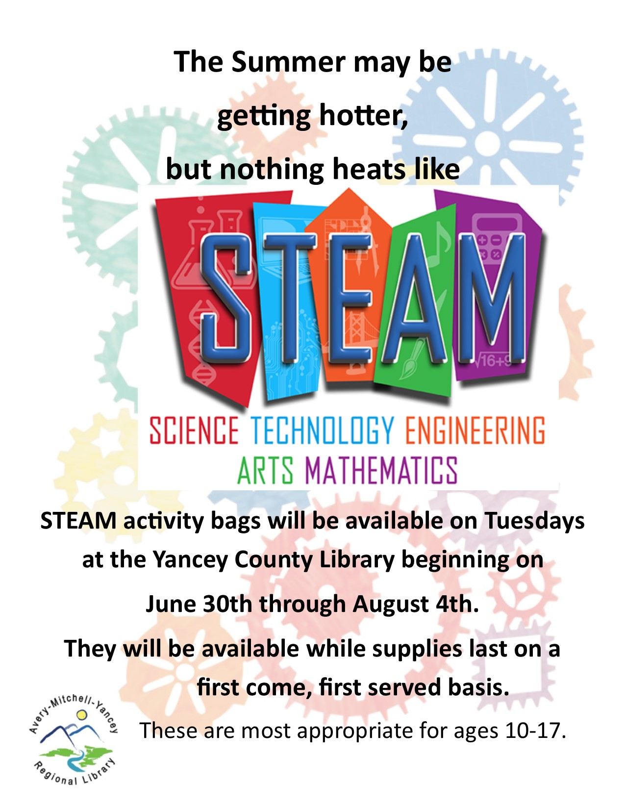 Yancey Library's Tween & Teen STEAM bags are available for pick-up TODAY!