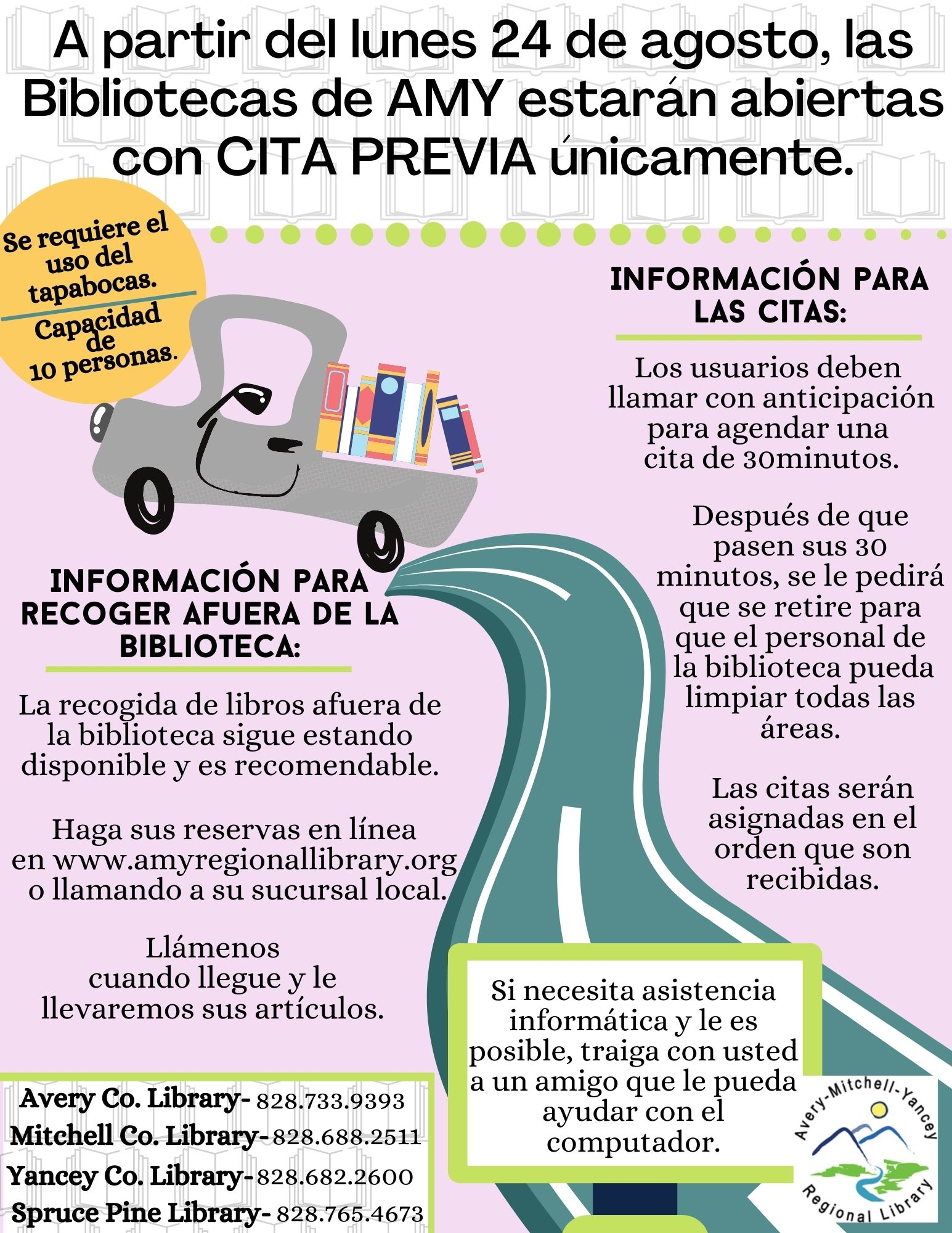 All Libraries are open for appointment only. (flyer in Spanish)