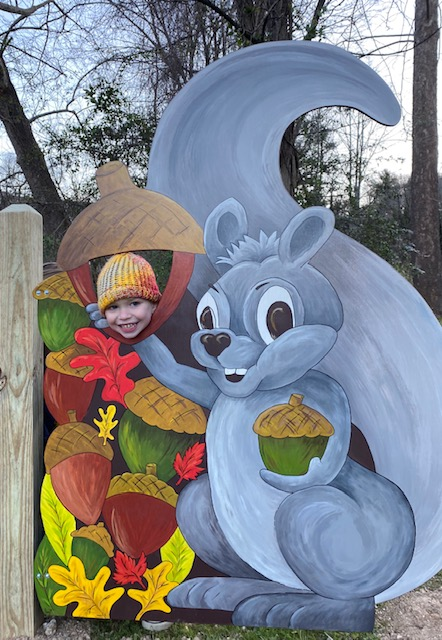 Image of Piney the Squirrel cut out at the Riverside Story Trail in Spruce Pine