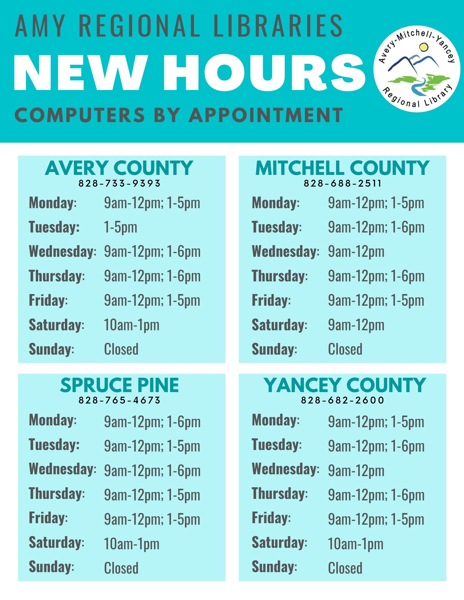 "shows the new ""open"" hours for all library locations"