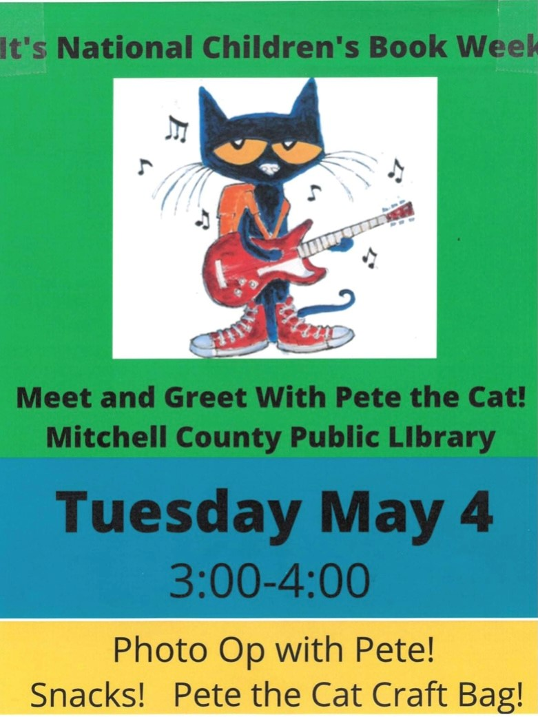Meet Pete the Cat at Mitchell County Public Library! @ Mitchell County Public Library