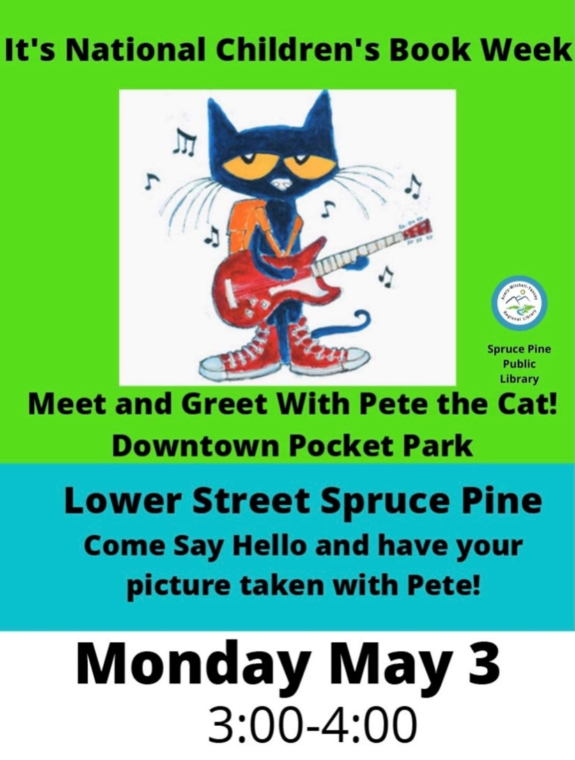 Pete the Cat at the Pocket Park on Lower Street in Downtown Spruce Pine