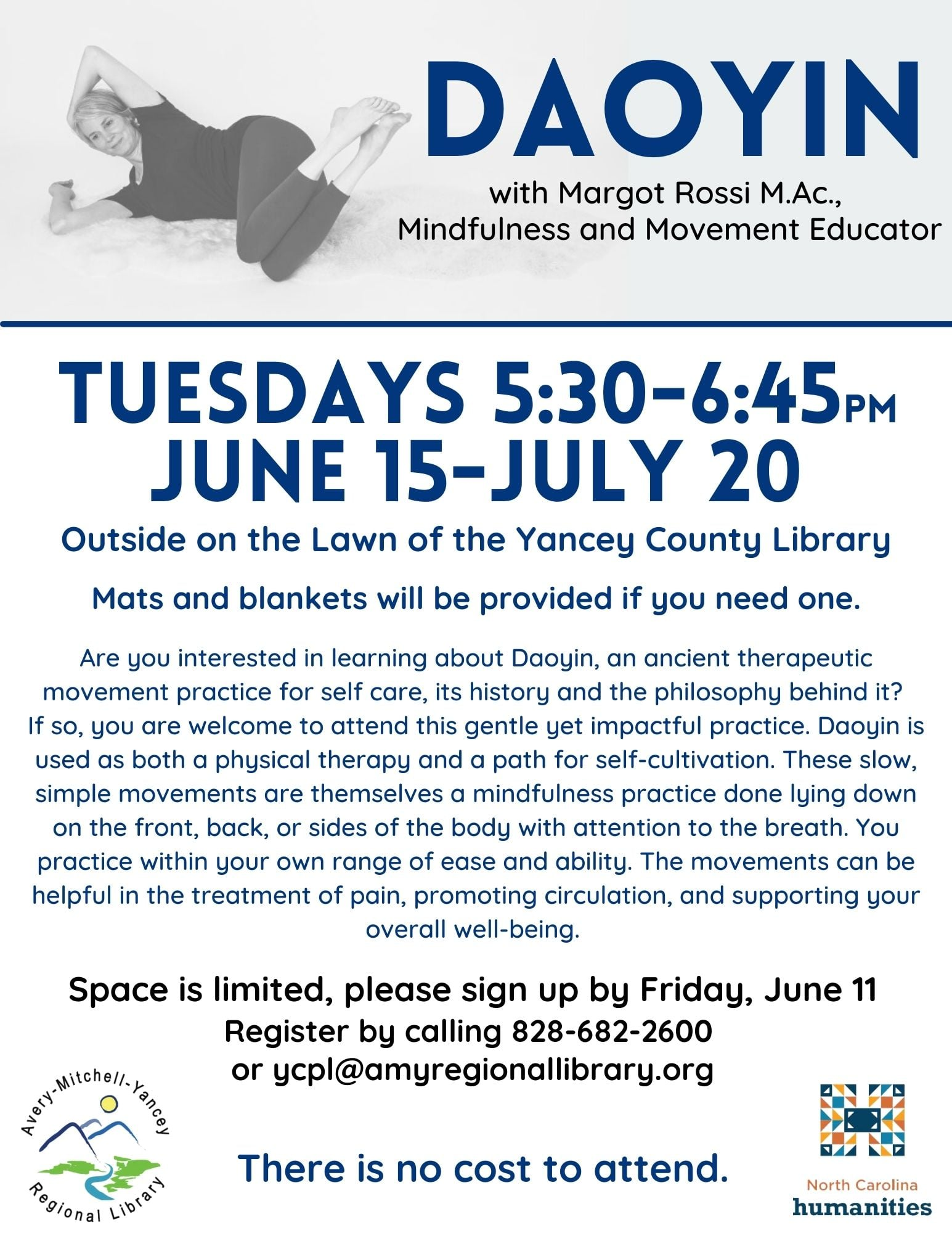 Image of instructor lying down and demonstrating Daoyin movement offered Tuesdays, June 15-July 20 at Yancey Library from 5:30-6:45