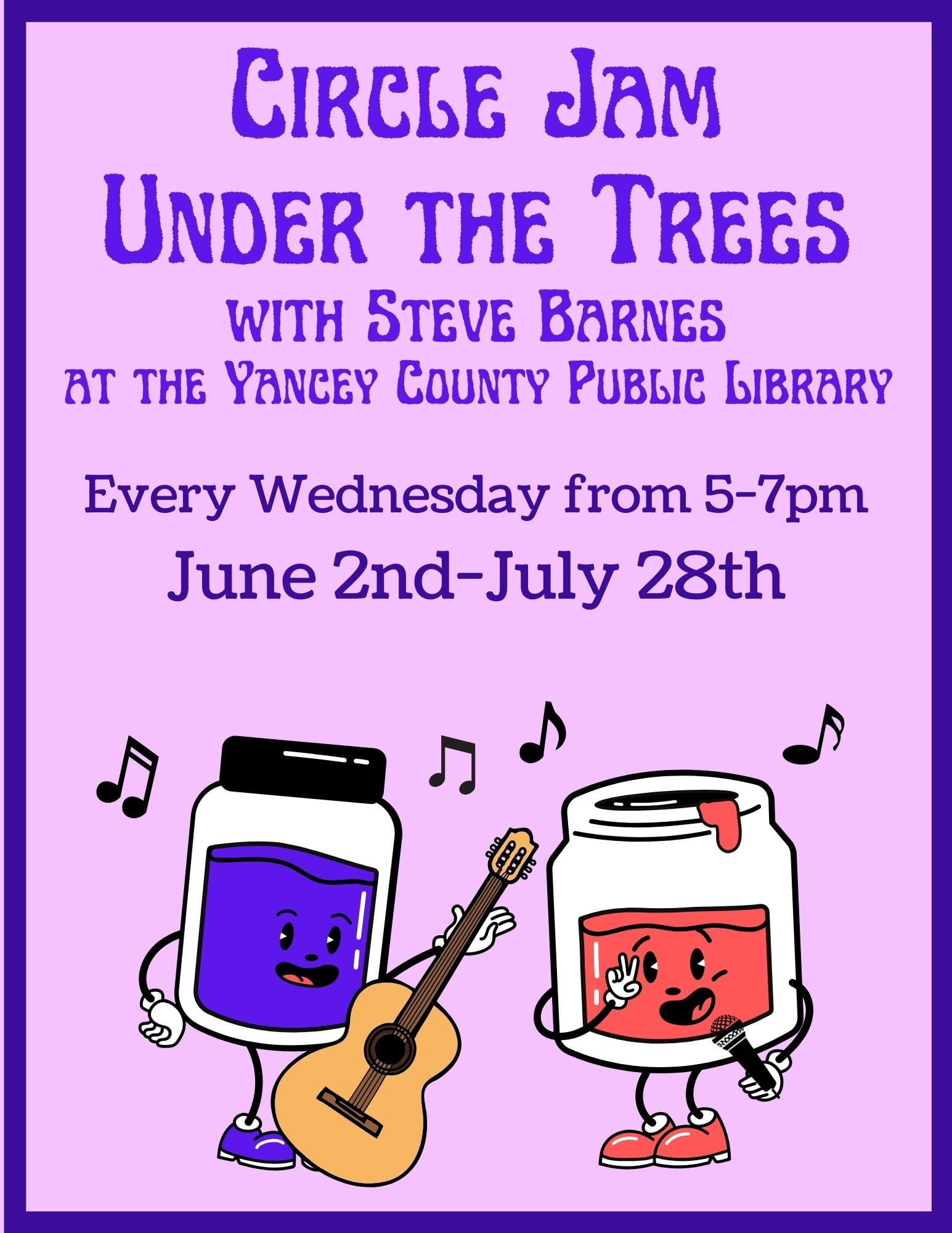 Circle Jam Under the Trees with images of jam jars, one purple and one red playing instruments