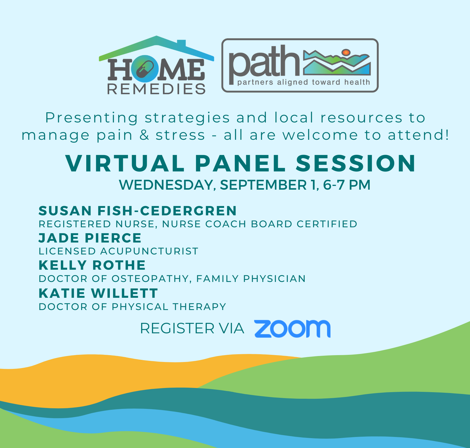 Blue background with colored mountains along the bottom border, in yellow, green and blues. Flyer details a Virtual Panel Discussion held on Sept 1.