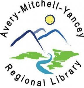 Avery-Mitchell-Yancey Regional Library logo with 3 mountain peaks in blue and a yellow sun behind them with a blue river running through the peaks  Text states the Avery-Mitchell-yancey Regional Library written around the logo image.