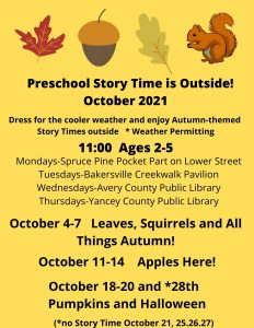 A page with a yellow background describing preschool story time in October.  There are also leaves and squirrels on the top of the page.