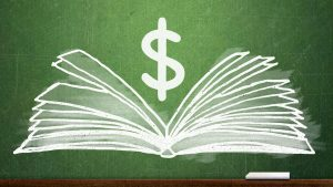 an image of a white book open to show pages on a green background with a dollar symbol floating above the book