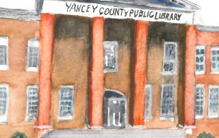 watercolor of the front of Yancey County Public Library