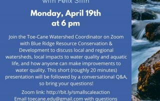Flyer explaining the event Small Scale Actions Means Large Improvements for our watershed on April 19th at 6pm