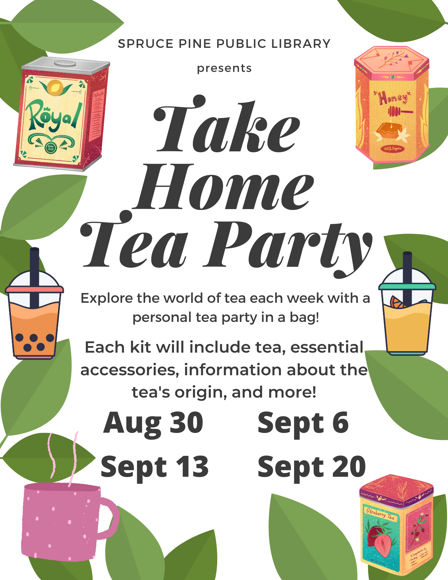 A white document with green tea leaves and multi-colored tea boxes and cups, with the words Take Home Tea Party displayed along with dates of when you can pick up a kit