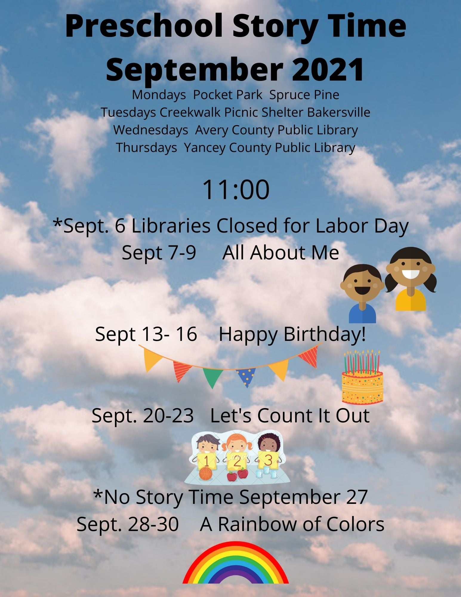 """An image of a blue sky with white clouds and """"Preschool Story Time September 2021"""" written at the top and then followed by calendar information about story times at each library."""