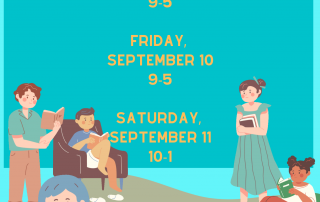 """A flyer with individuals of different genders, ages, and race reading and carrying books. The writing along the top of the flyer states """"Spruce Pine Public Library Book Sale"""""""