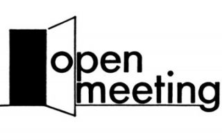 """a white background with an open door and the text reads """"open meeting"""""""